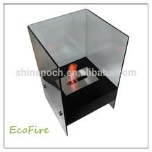 Cube Glass Freestanding Fireplace