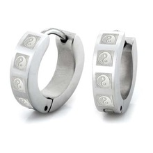 Unique Man Earth & Heaven Stainless Steel Hoop Earrings