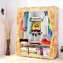 Yellow Cute Portable Wardrobe Clothes Rack Shelves Closet Storage Organizer