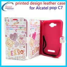 Wholesale Mobile Phone Case Bling Diamond cute printing design flip cover case for Alcatel POP C7