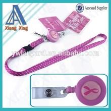 High quality keychain breast keychain breast cancer lanyard with Id badge holder