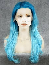 ombre blue color cosplay wig synthetic wigs lace front box braid wig