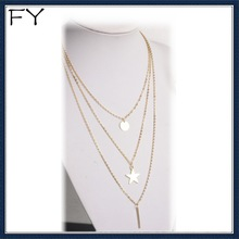 Gold Bar&Star Triple Layered Necklace For Modern Lady