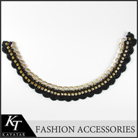 Alibaba Guangzhou Supplier New Low Short Collar Necklace Crystal Beaded Cording Ribbon Bridal Accessory Collar Lace