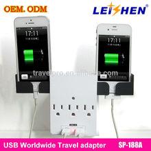 3 pin usa plug adapter with 2 usa sockets + 2 USB for charger