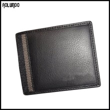 Pebble grain bifold genuine leather thin wallet OEM