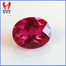 Oval Checker Cut Gemstone for FashionJewelry Lab Created Rubie