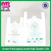 color printing transparent t-shirt bag/white plastic t-shirt bags