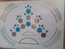 Colorful type Metallic Temporary Blue Circle Necklace tattoo