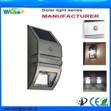 stainless Steel Waterproof Outdoor LED Solar Power PIR Sensor lamp Garden solar Security light wall lamps YH0607-PIR