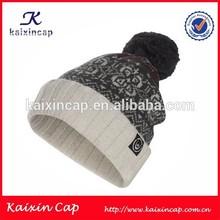 custom ladies winter wool hat/knitted children winter hat with pom pom