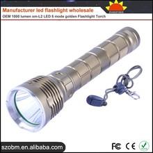 Manufacturer led flashlight wholesale,OEM 1000 lumen xm-L2 LED 5 mode golden factory wholesale led flashlight torch