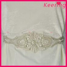 wholesale rhinestone crystal pearl applique wedding belt WRA-497