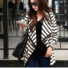 2014 & 2015 Women's stripe cardigan long sleeve cotton winter coat sale 18299