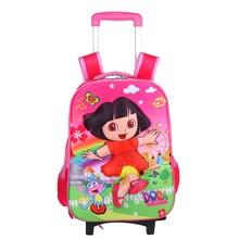 Kids Trolley School Bag With Wheels/Cartoon Kids School Bag