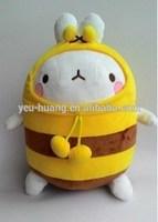 Plush round rabbit with bee clothes rabbit stuffed animal