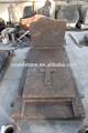De estilo francés de granito rojo tallado cruz florero lápida/lápida/lápida