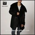 mode femme noir 2015 long hiver manteau de fourrure avec revers en cuir américain
