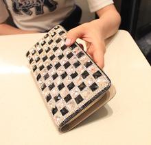2015 Ladies Women Wallets pu Purses Long Wallet,Elegant Female black and white diamond-encrusted Wallet Purse