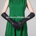 moda longo mulheres ovinos luvas de couro vestido com trança