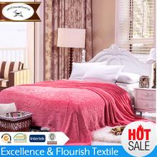 YM-0347 Customed deep pink flannel blanket