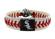 Team baseball handmade leather bracelet