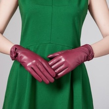 Fashion Draped Women Sheep Leather Dress Gloves With Bow