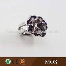 Silver ring designs for girls fashion rinhestones ring For Women shape purple flower