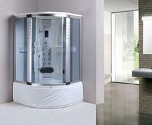 118x118 white ABS backboard grey glass massage steam shower