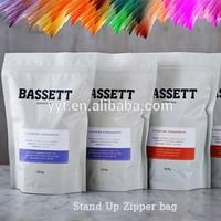 matt white finish printed stand up zipper bag for food