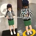 em stock nomes de lojas de roupas 2015 primavera stripe cartoon mouse ruffle meninas outfit