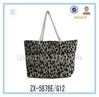 Natutal cheap popular cotton jute bag with ZEBRA pattern for Ladies