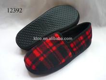 Men's Winter Plaid Fleece Indoor Scuff Flat Soft Slippers Shoes