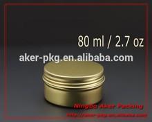 Empty Cosmetic Aluminum Jar Tin Container Gold Round Box Screw Lids 80ml