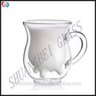2015 hot double wall milk glass cup, children use cute borosilicate drinking milk glass