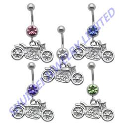 Bobber Motorcycle Dangle Navel& Belly Ring Earring Gauge Piercing Body Jewelry 14G