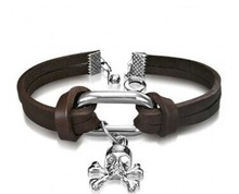 Skull and Bones Leather Cuff Bracelet Charm 8in