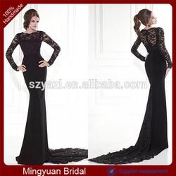 DL-142 Elegant Mermaid Evening Dress Black Evening Dress 2015 Long Sleeve Evening Gown