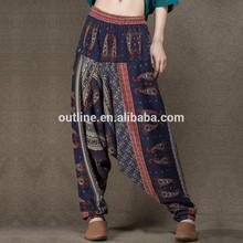 jiqiuguer original de la marca elástico de la cintura de pierna ancha floral de impresión pintor la mujer pantalones