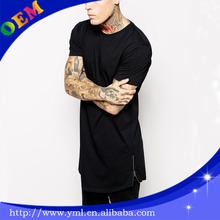 2014 fashion tall tee mens t shirt side zipper detail long style t shirts