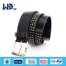 Pure black rivet meta mensl full grain leather belts