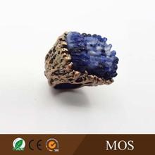 Lastest Size 7 Blue Stripe Agate Ring , Gold plating.