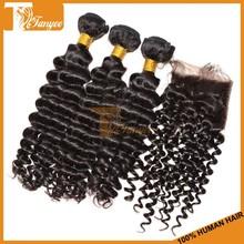 Sells Mongolian Human Hair 4*4 Bleached Knots Lace Closure With 3pcs Virgin Deep Wave Hair Bundles Natural Curly Hair Extensions
