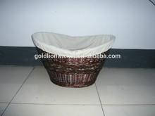 Willow & wood chip lanudry basket -natural liner