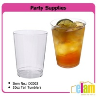10oz Clear hard disposable plastic tall tumblers