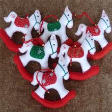 Rocking Horses Hand Made Felt Christmas & Xmas Tree Hanging, Christmas Decorations Pack Of 6