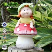 Girl and Mushroom Resin Rustic Garden Kid Decor