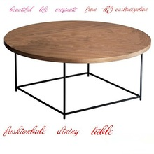 HXMZT11 steel bracket MDF laminate top round dining table