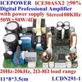 Icepower digital amplificador profissional bordoice50asx 2,50w+50w/4 ohm, com fonte de alimentação, stero swithing freqüência- 100 khz, 90%