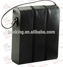 2015 black leather wine bag wine carrier